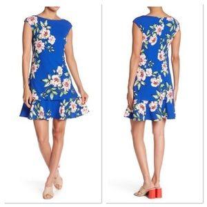 Eliza J Cap Sleeves Print Dress